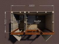 Деревянный душ для дачи 3х1.5